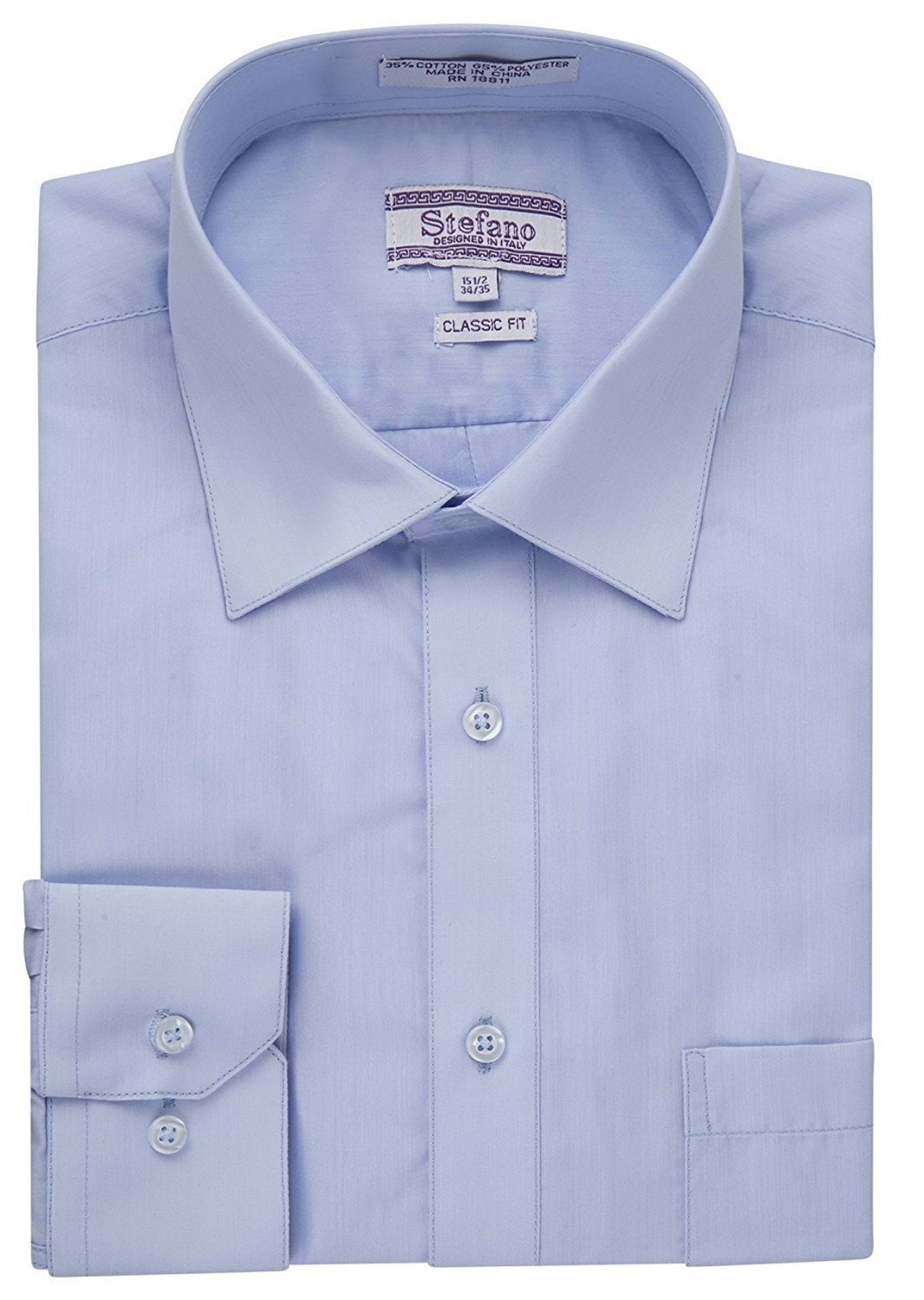Many Colors Stefano Men/'s Classic Fit Convertible Cuffs Solid Dress Shirt