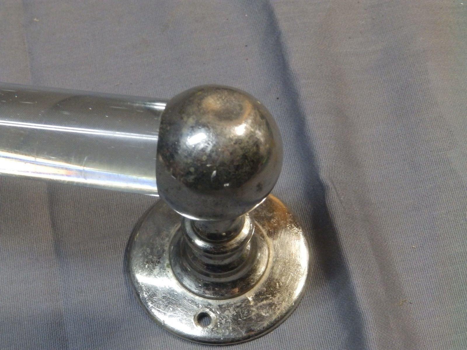 "Antique 24"" Glass Towel Bar Nickel Brass Brackets Vtg Bathroom Fixture 1674-16"