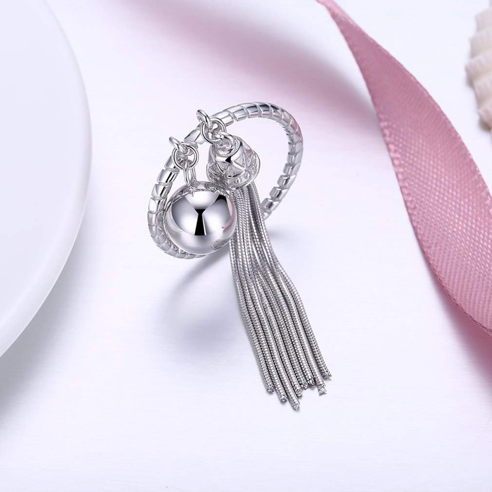 Ginger Lyne Collection Tassel Box Chain Bell Ball Sterling Silver Wrap Ring