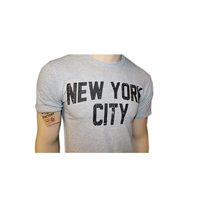 Nyc Factory Unisex T-Shirt Distressed Screenprinted Gray Lennon Tee Nyc Factor