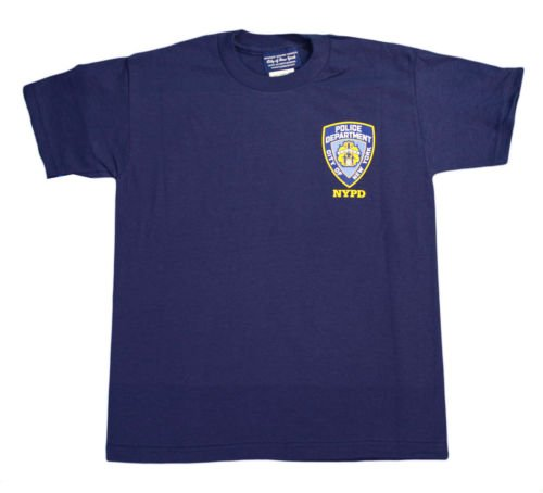 NYPD Kids Short Sleeve Screen Print T-Shirt Navy White Yellow Police Back Youth
