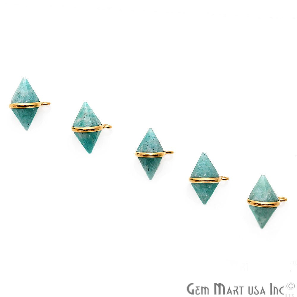 Select Gemstone Necklace Pendant Bicone Shape Gold Plated Bail Connector Charms