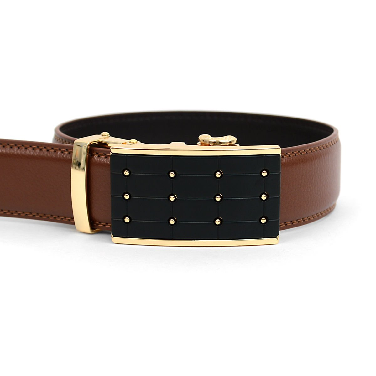 Men/'s Designer Genuine Leather Ratchet Dress Belt with Auto Lock Buckle Dotted