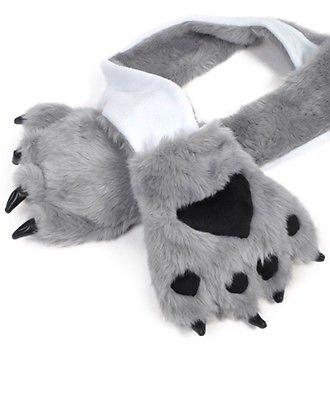 "Warm Animal Fur Scarf with Paw Mitten One Size Fits All 28/"" 100/% Acrylic"