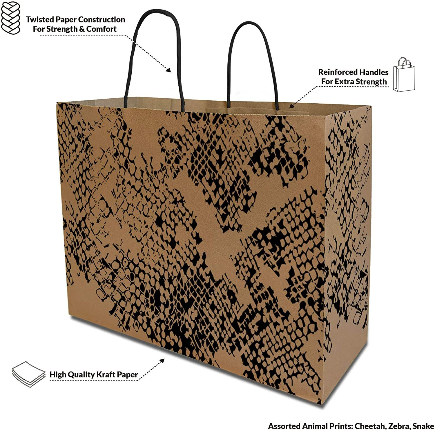 Details about  /Brown Kraft Paper Gift Bags Assorted Animal Print with Black Handle 16x5 x12