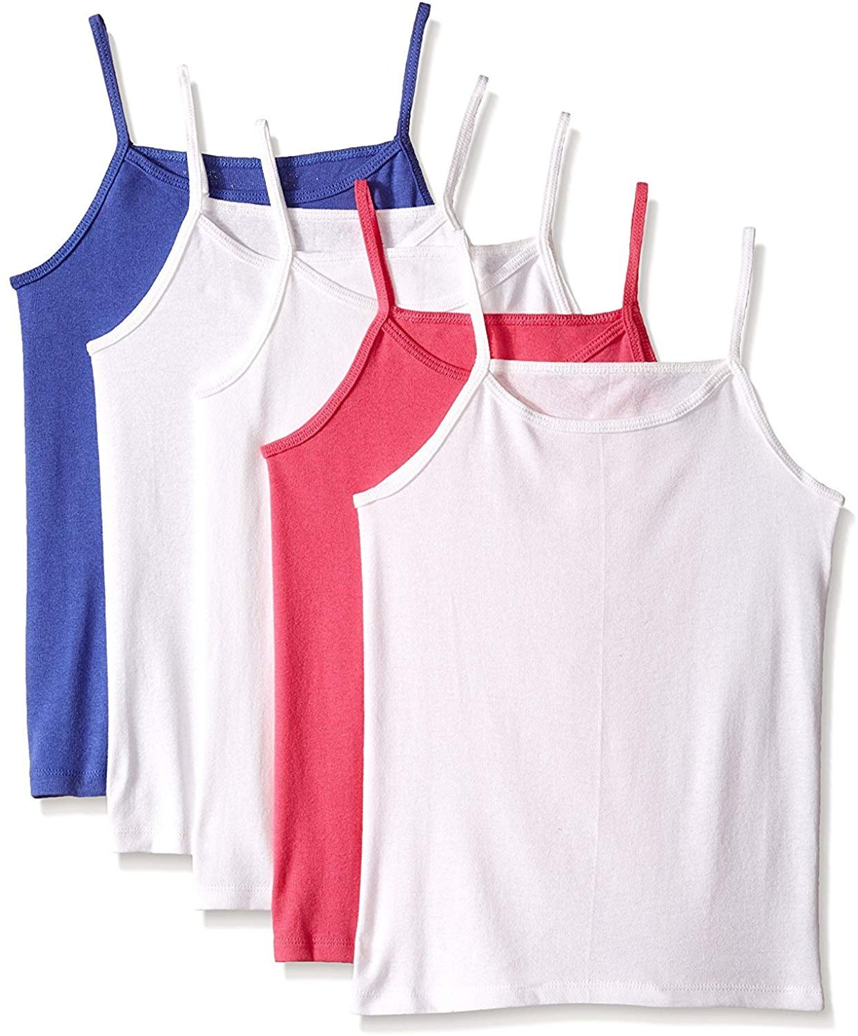 Fruit of the Loom Girls/' Camisoles Tanks Camis 10pk 6 White 2 Pink 2 Gray