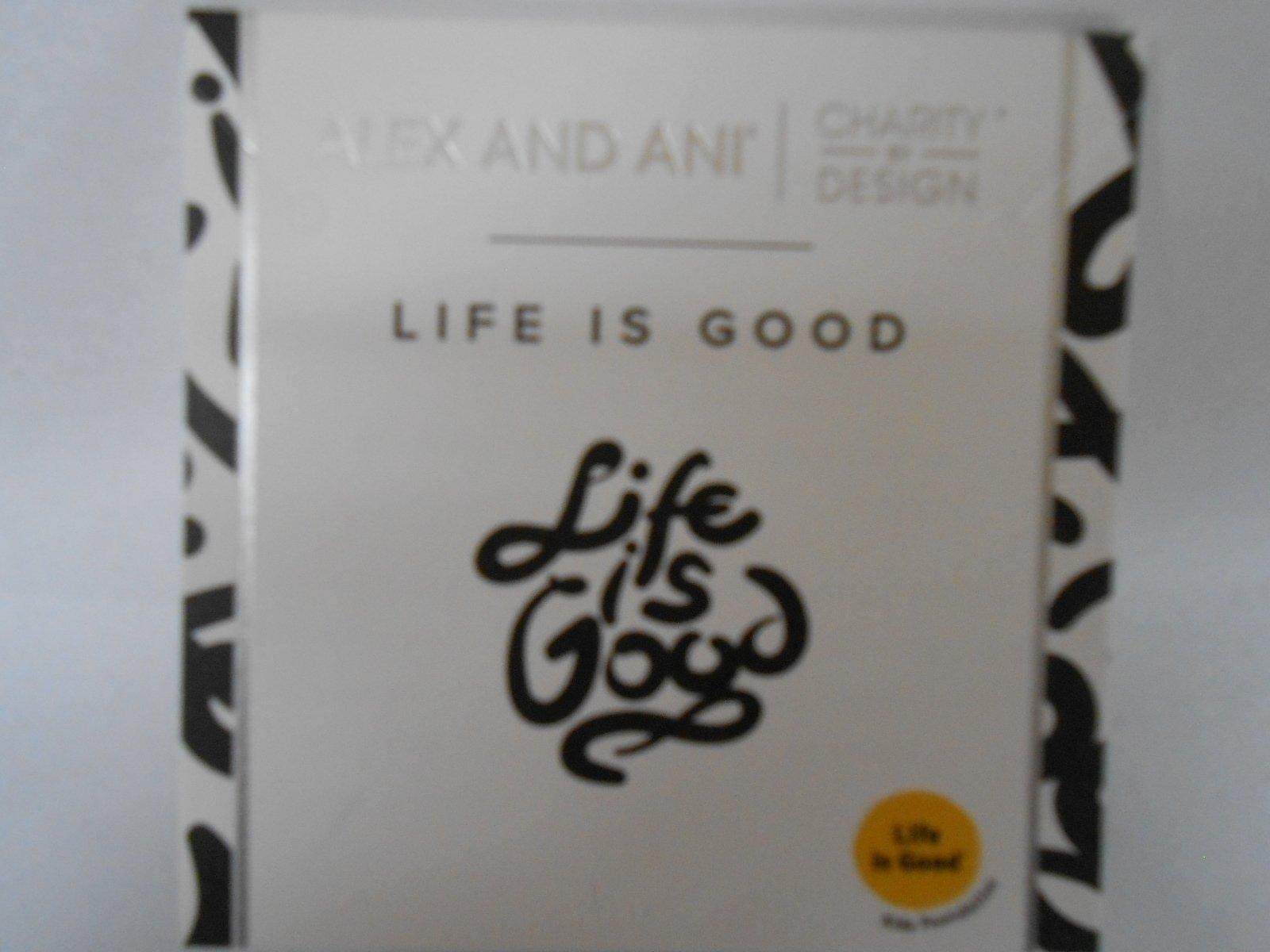 Alex and Ani LIFE IS GOOD Bangle Bracelet Shiny Silver NWTBC