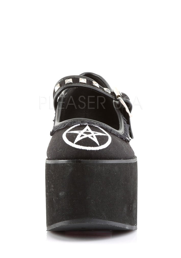 3 1//4 Inch Platform Mary Jane With Pentagram Embroidery And Ruffle Lace