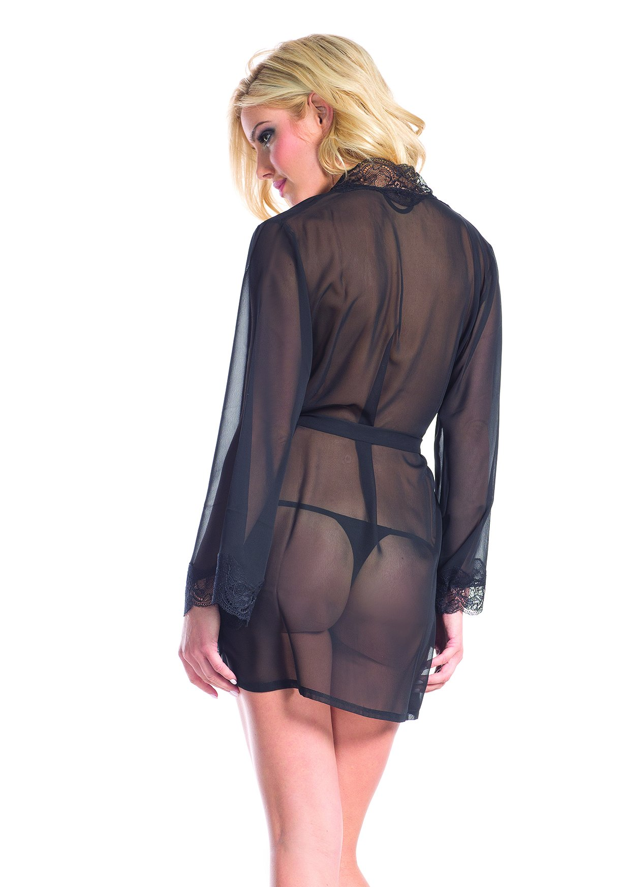 BeWicked 1629 Front Tie Sheer Robe With Black Lace Collar And Sleeve Finish