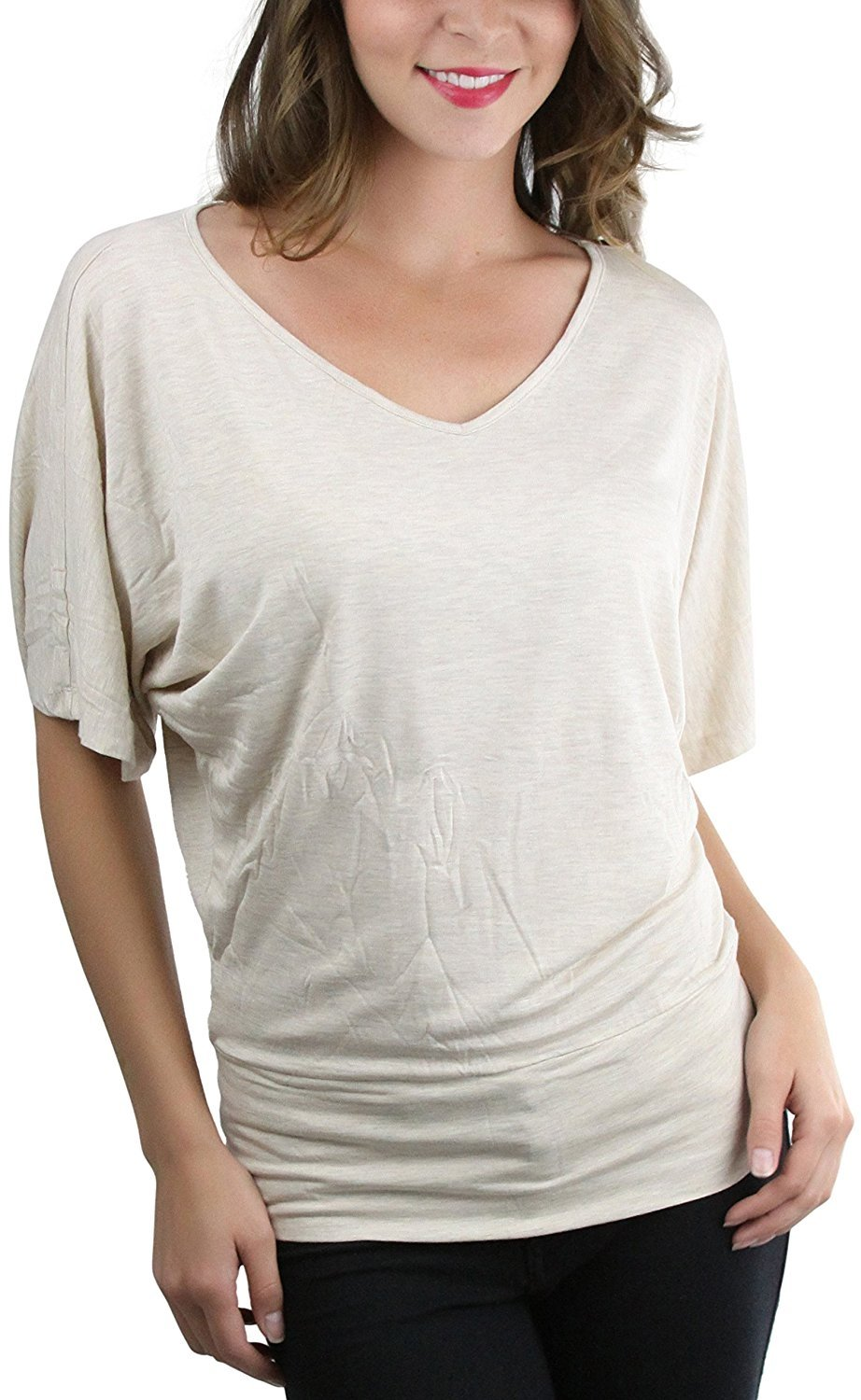 ToBeInStyle Women/'s Loose Half Sleeve Deep V-Neck Fitted Tee