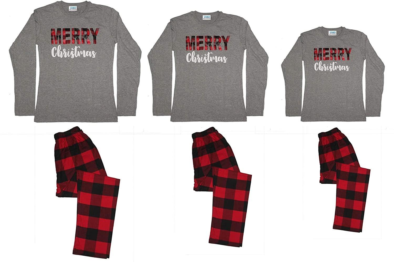 Christmas Matching Family Pajama Sets Printed Tops and Deer Plaid Xmas Sleepwear
