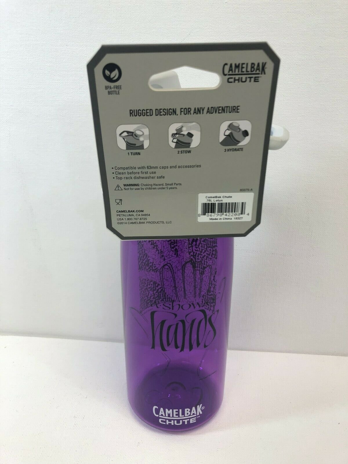 Custom Print Show of Hands CamelBak Chute .75L Purple Water Bottle 25 Oz.