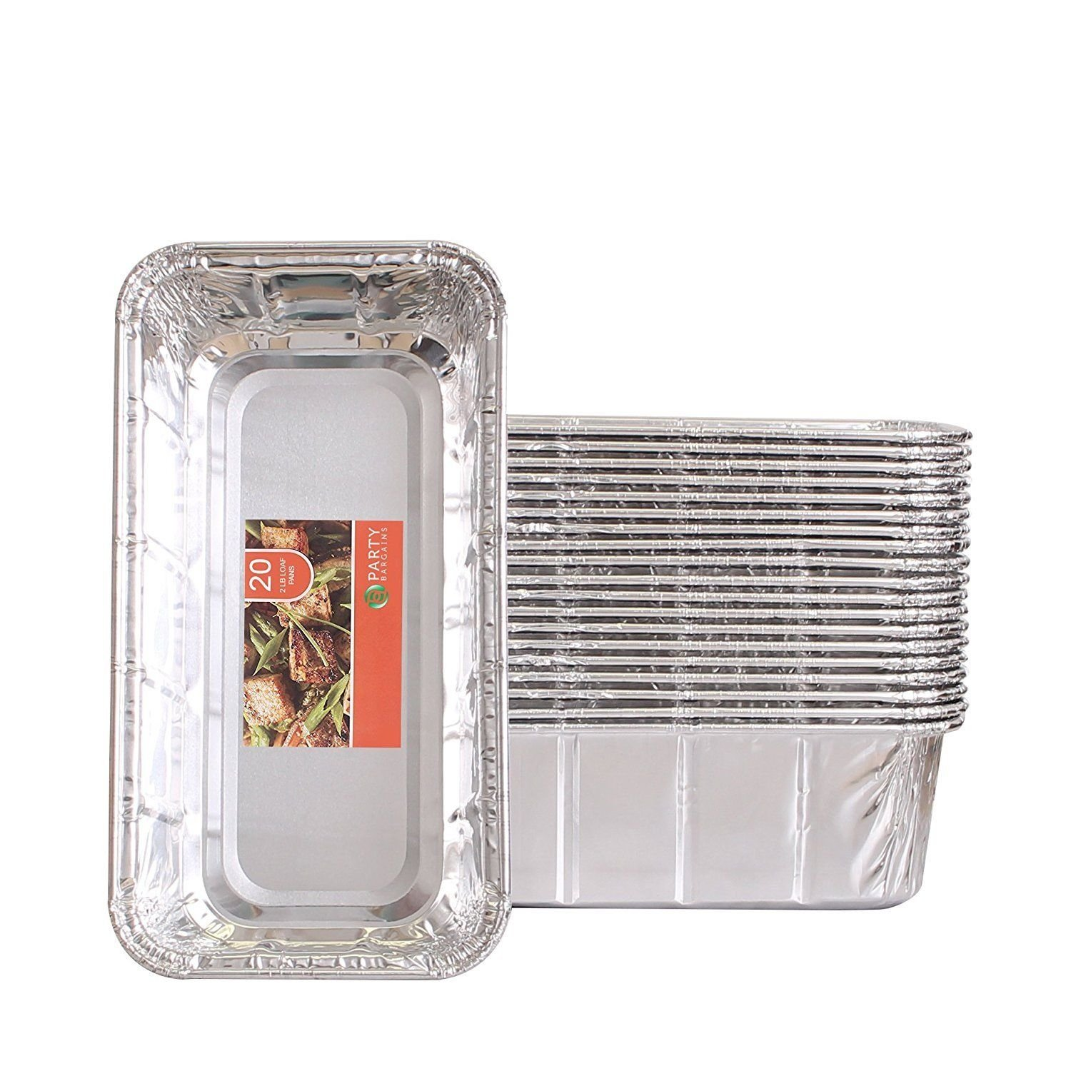 Aluminum Foil Loaf Pan Disposable Oblong Baking Bread Tins - 2 lb Capacity