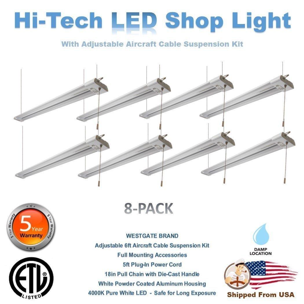 Westgate LED Strip Light 4FT 40W High Bay Hanging Garage Warehouse Lamp Fixture