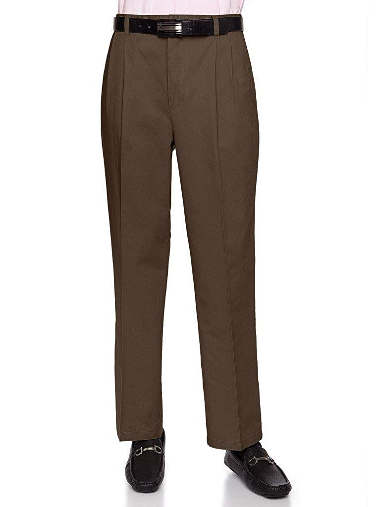 Traditional Fit Slacks  By AKA Men/'s Cotton Flat-Front Work Pants