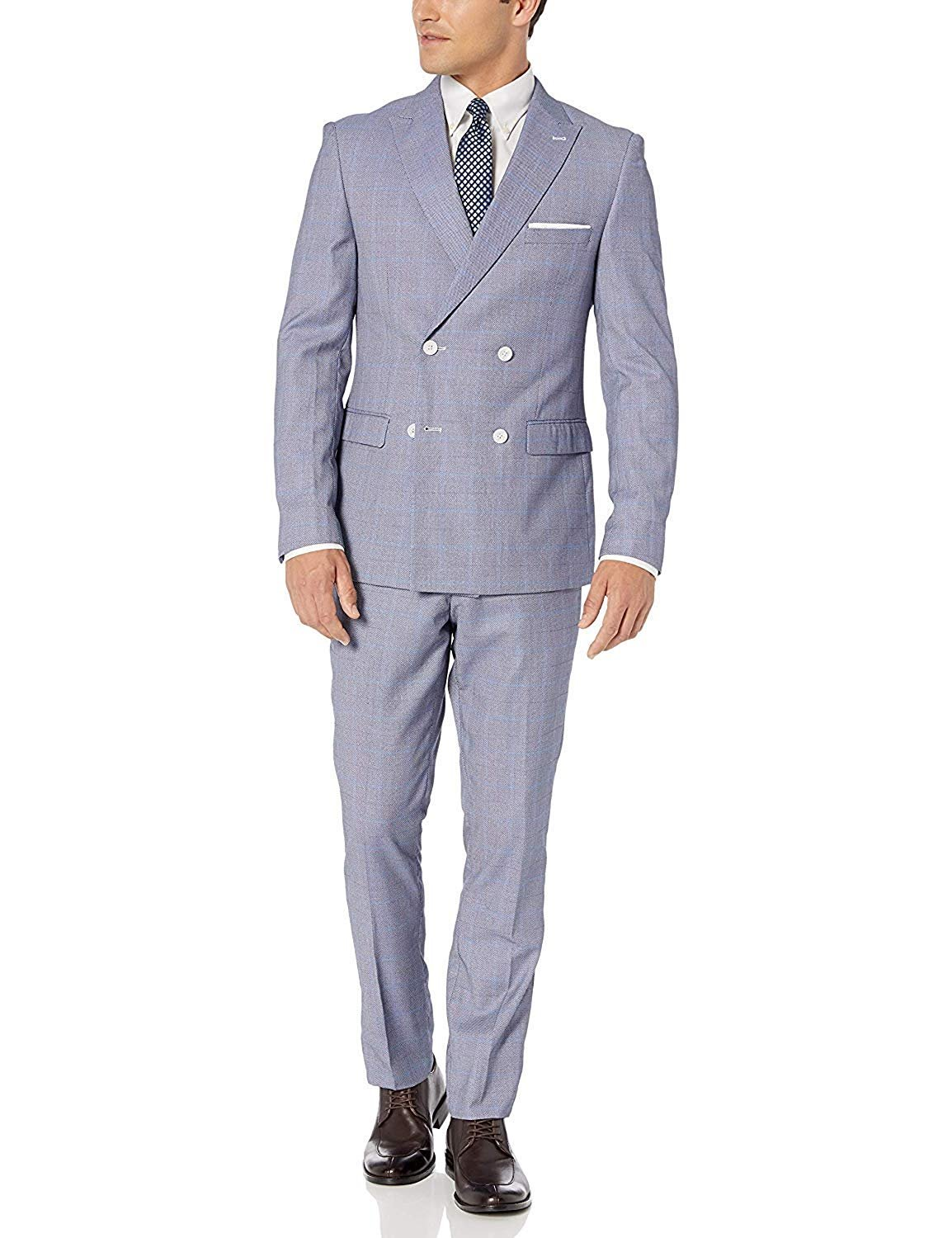 Adam Baker Mens Modern Fit 2-Piece Single Breasted Two Button Wool//Silk Blend Suit Colors