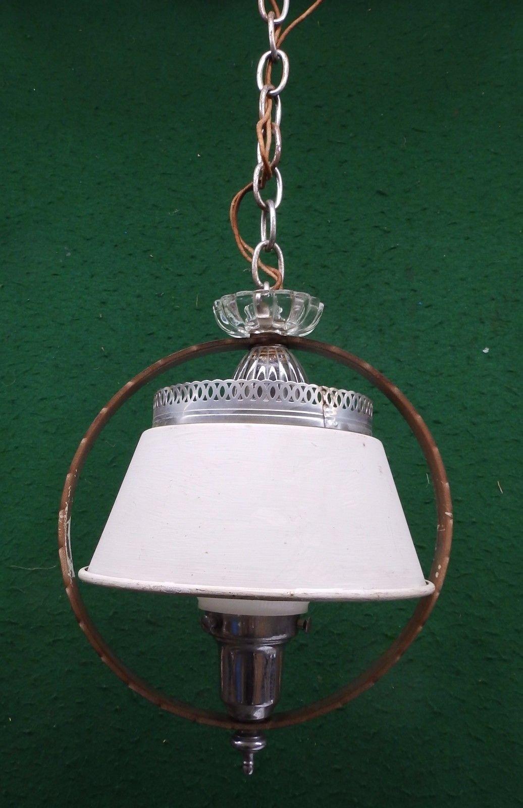 Vintage Art Deco Chrome Milk Glass Ceiling Light Fixture Shabby Old ...