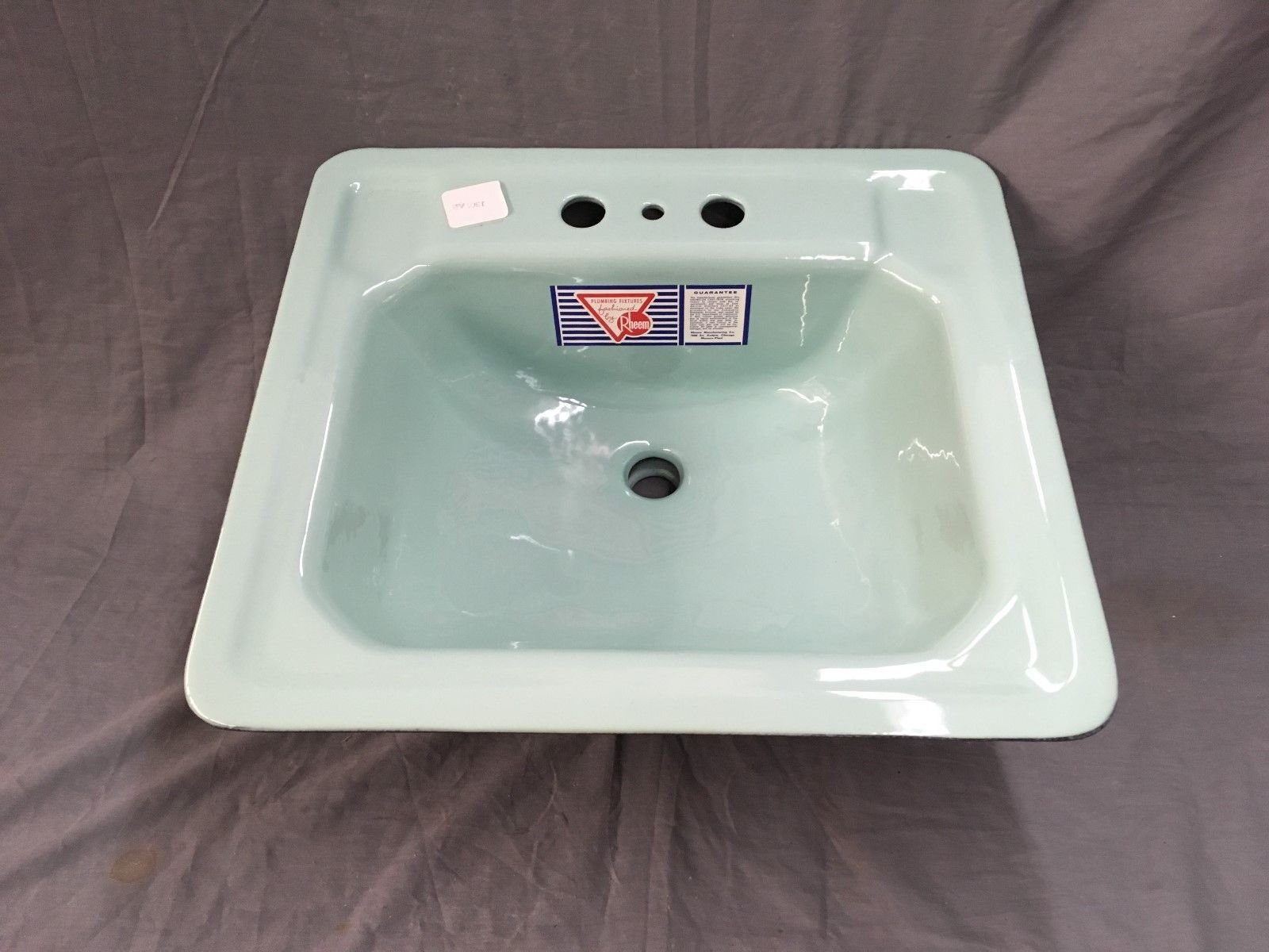 Vtg NOS Cast Iron Seafoam Green Porcelain Bath Drop In Sink Old - Cast iron bathroom fixtures