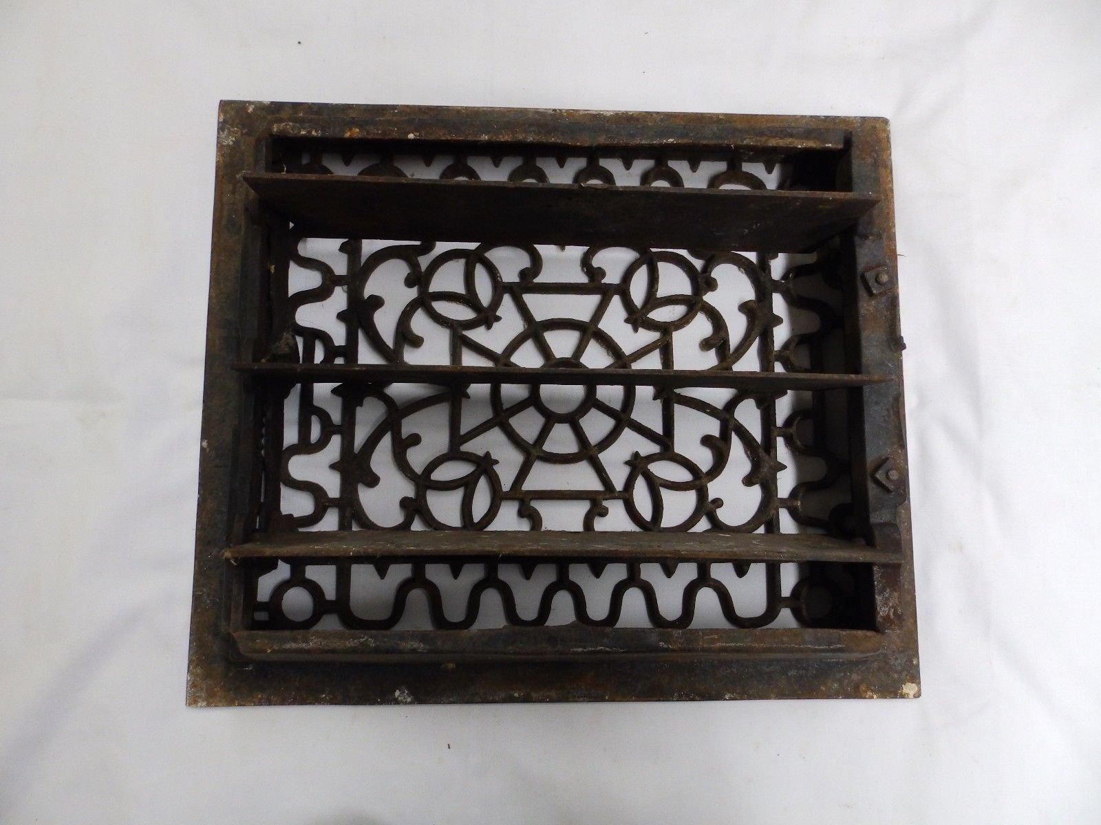 Antique Cast Iron Victorian Heat Grate Register Vent Old Vtg Hardware 4571-15