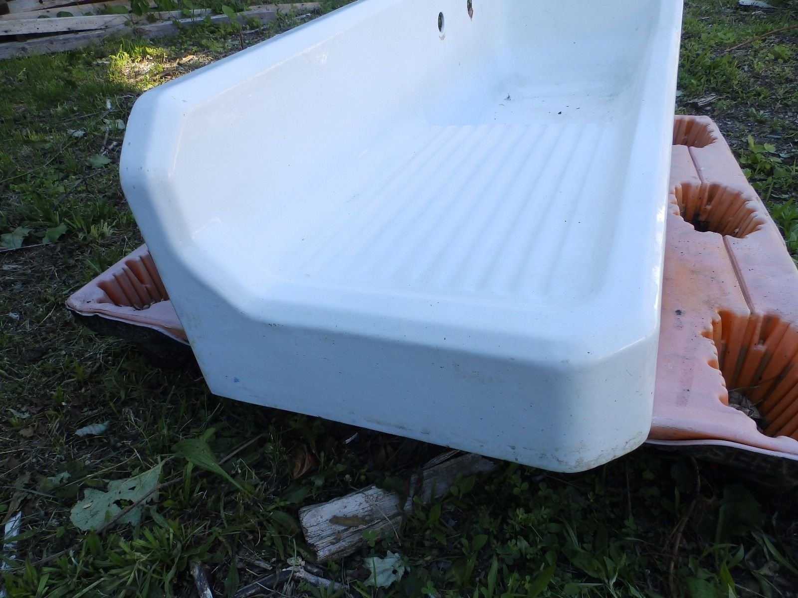 Antique Cast Iron White Porcelain Right Corner Kitchen Sink Old ...