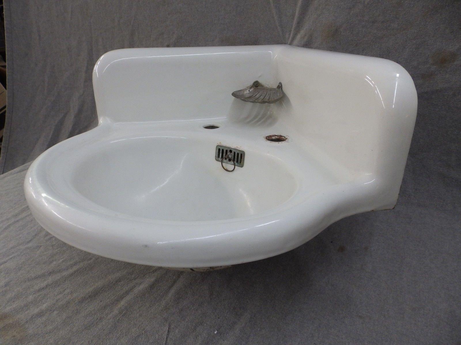 Antique Cast Iron White Porcelain Corner Bath SInk Old Standard ...