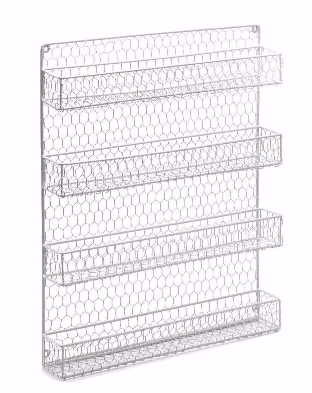 Chicken Wire Spice Rack - 4 Tier Country Metal - Cabinet, Wall ...