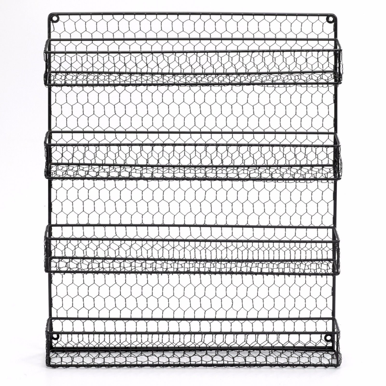 4 Tier Country Metal Chicken Wire Spice Rack From 1790 Cabinet Wall ...