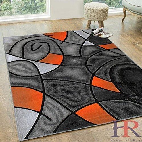 Electric Orange Grey Silver Black Abstract Area Rug