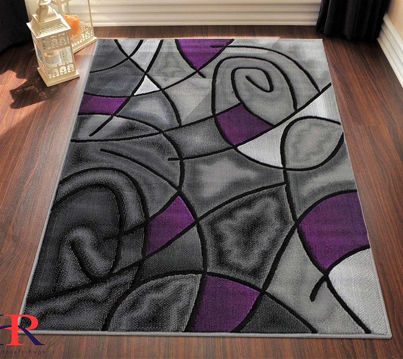 Purple Circle Rugs: Purple/Grey/Silver/Black/Abstract Area Rug Modern