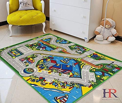 World Map Baby Rug: Kids Car Road Rugs City Map Play Mat For Classroom/Baby