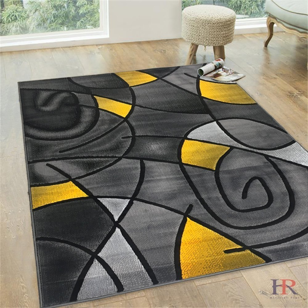 Yellow Grey Silver Black Abstract Area Rug Modern