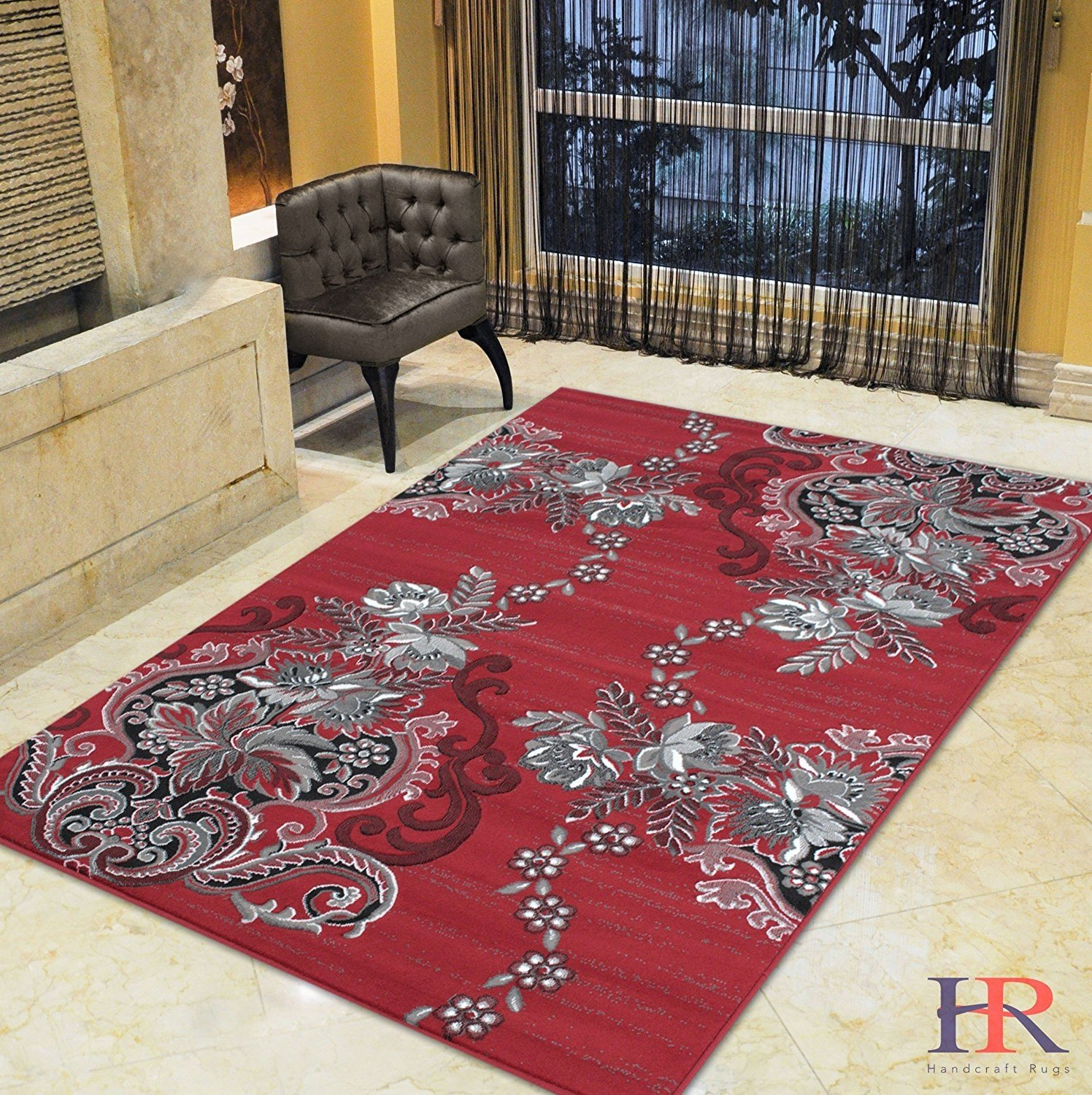 red grey silver black abstract area rug modern contemporary floral and ebay. Black Bedroom Furniture Sets. Home Design Ideas