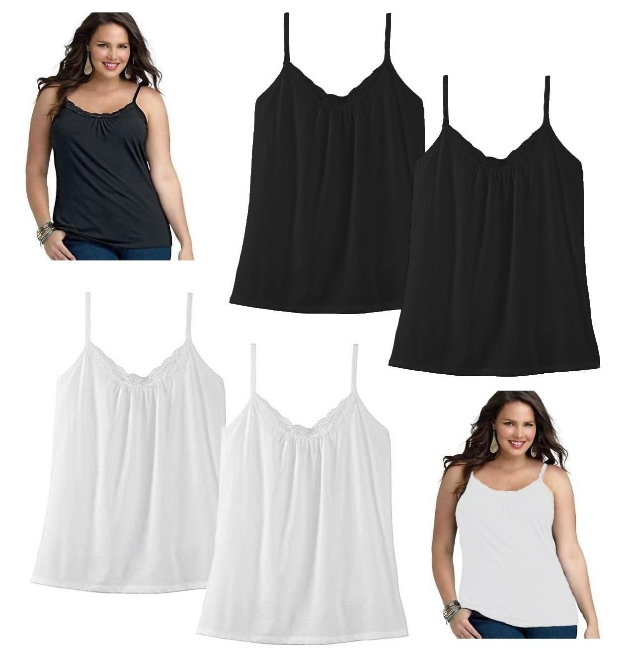 4f88a1117dd2a3 Details about 2-Pack Just My Size JMS Women s Lace Shirred Tank Cami  Camisole