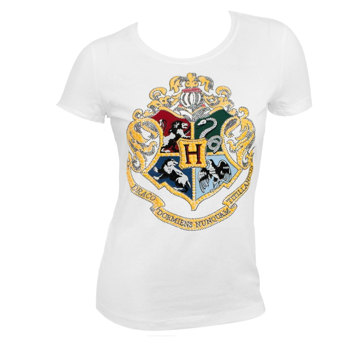 f90133ce Details about Harry Potter Hogwarts Raised & Glittered Crest Girls Youth T- Shirt, White