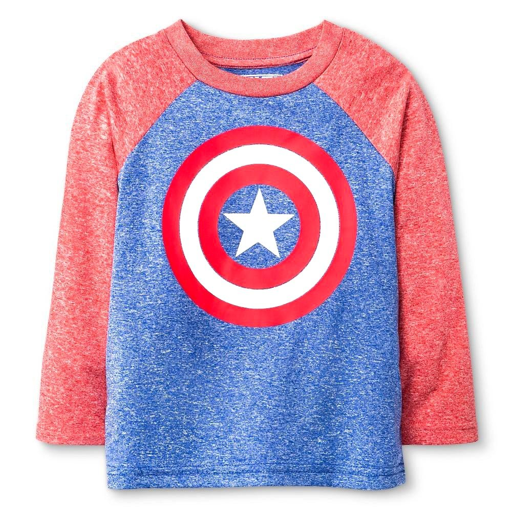 2cd57b9502 Details about Marvel Captain America Shield Logo Toddler Long-Sleeve Raglan  Tee