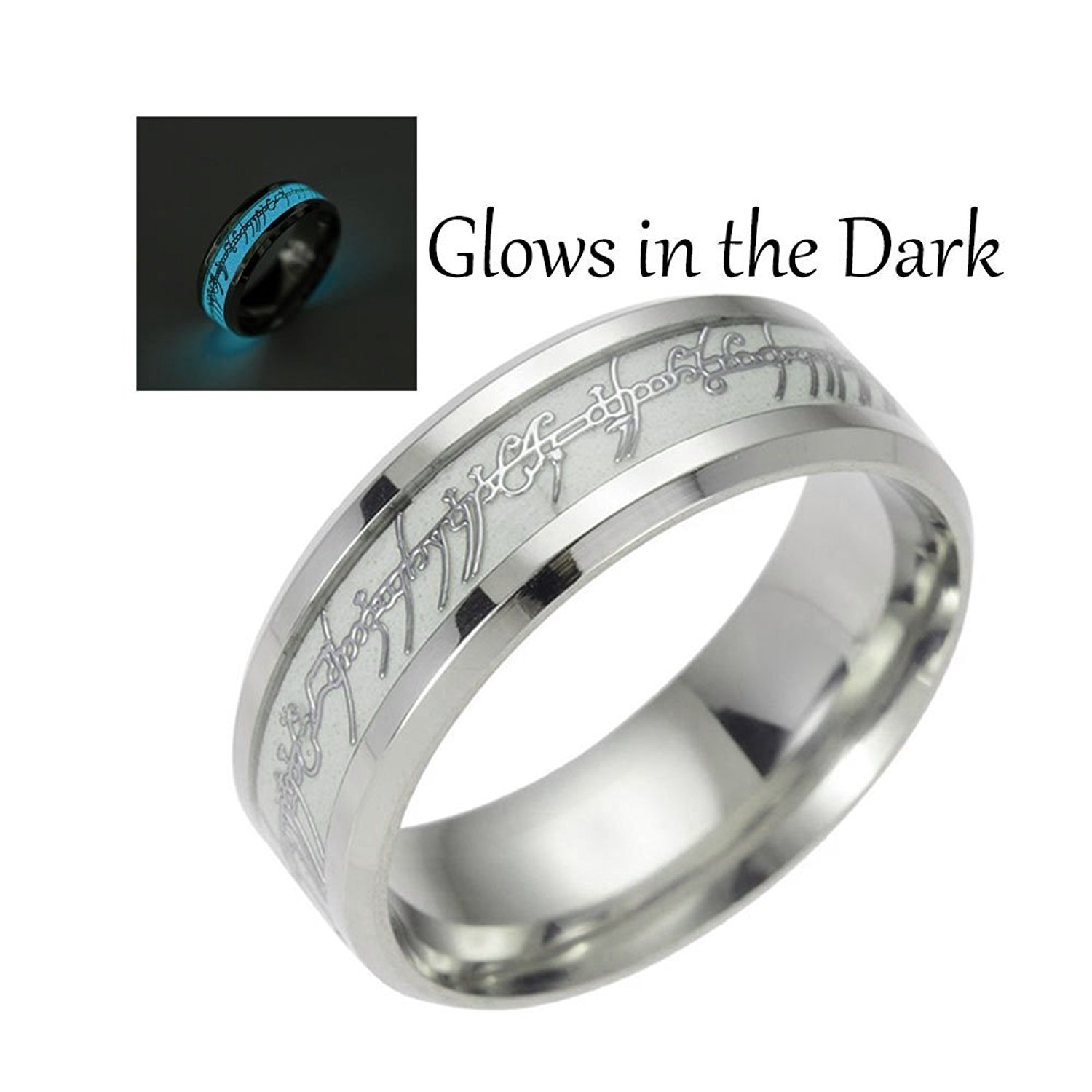 Glow In The Dark Blue Stainless Steel Comfort Fit Wedding Band Ring
