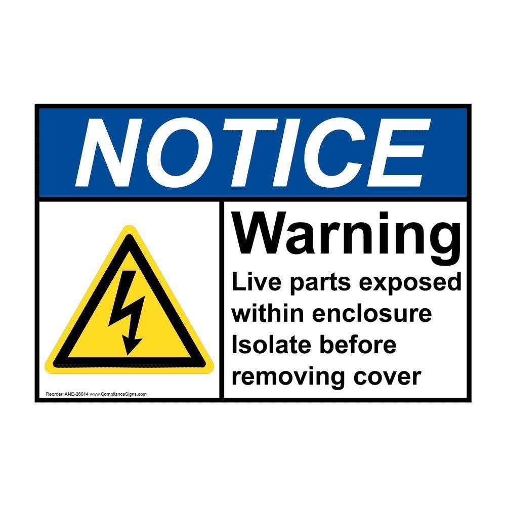Ansi Notice Electrical Warning Label With Symbol 5x35 In Vinyl 4 Pack