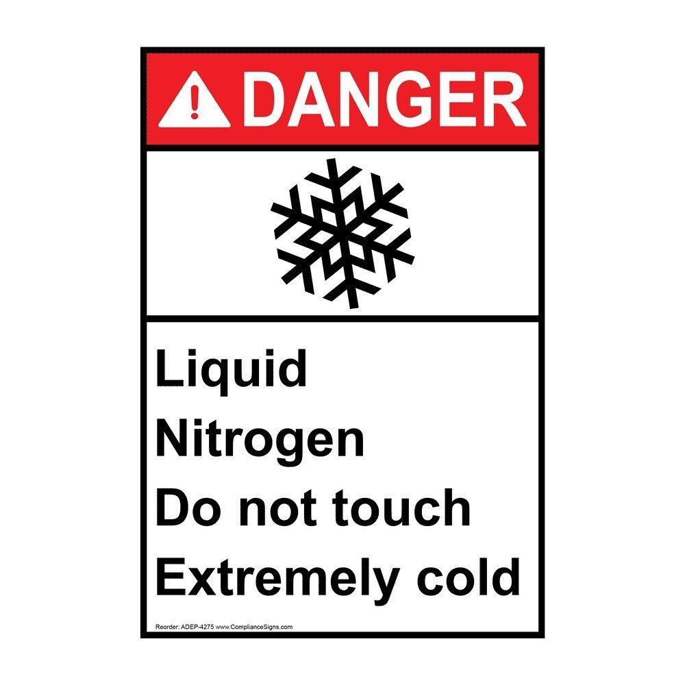 Vertical Ansi Danger Nitrogen Sign With Symbol 10x7 In Plastic