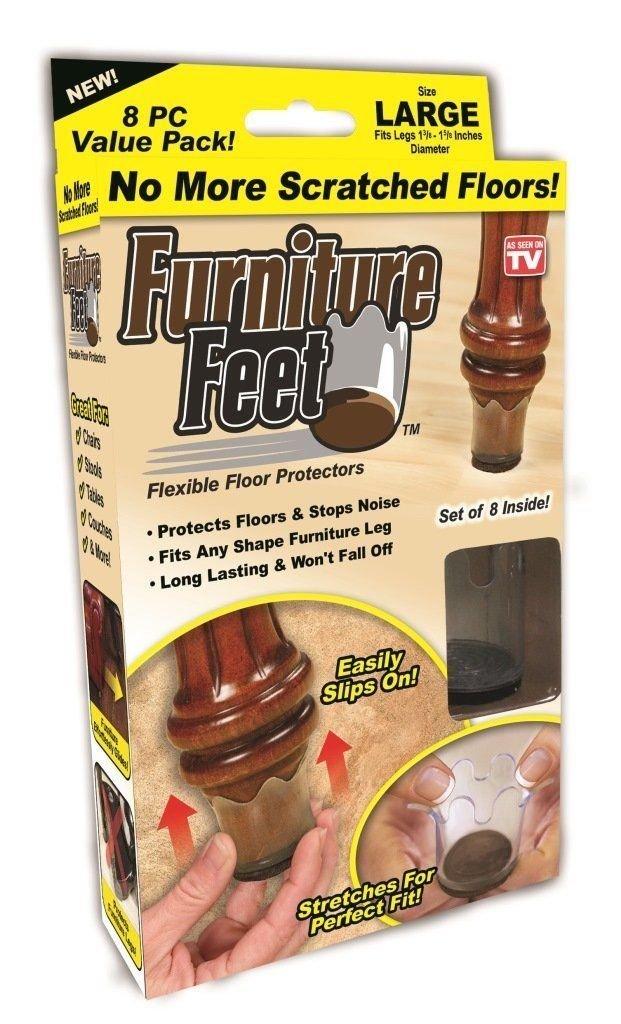 16pc Large Furniture Feet Flexible Floor Protectors Chair Caps As