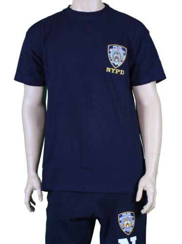 MENS-NYPD-T-SHIRT-EMBROIDERED-LOGO-NAVY-BLUE-OFFICIAL thumbnail 3