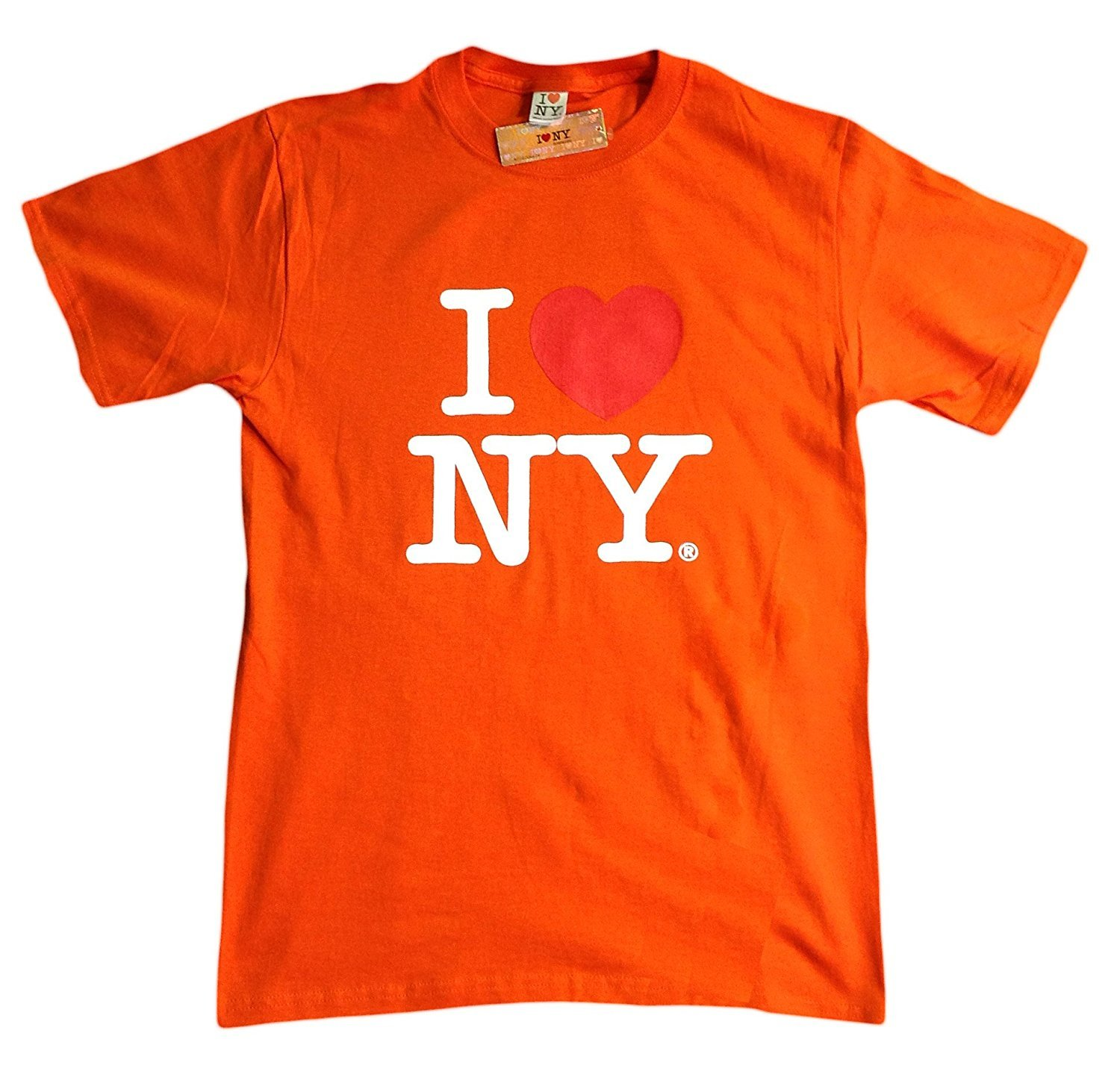 I Love NY New York Short Sleeve Screen Print Heart T-Shirt Orange  cddcb12174c