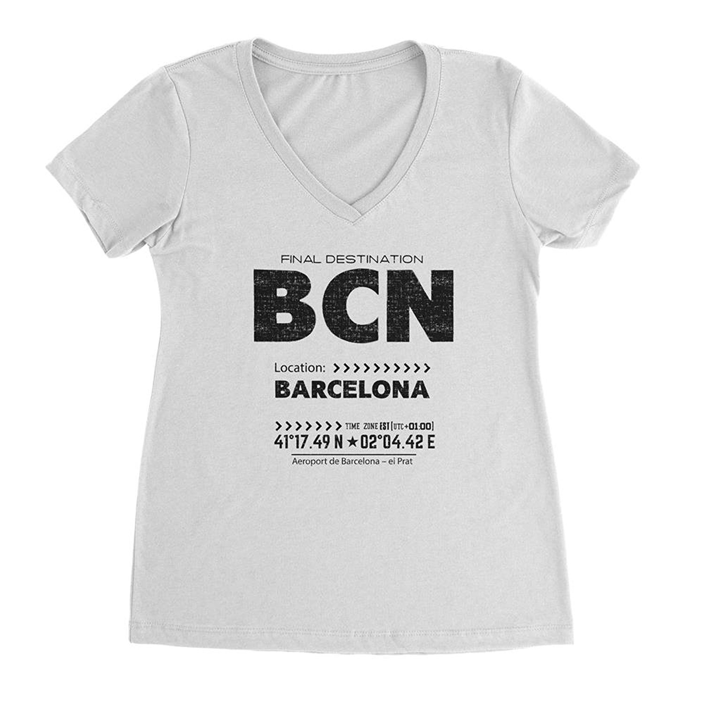 f947aede7 Nyc Factory Barcelona Ladies V-Neck Tee Retro Bcn T-Shirt bcn-vneck ...