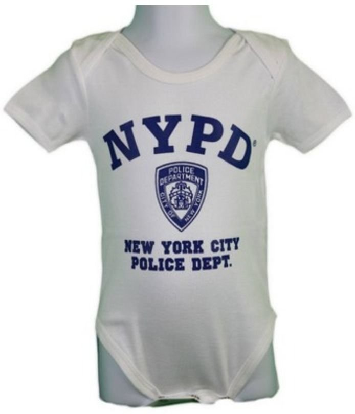 NYC FACTORY Boys NYPD Screen Printed Bodysuit Police Tee White