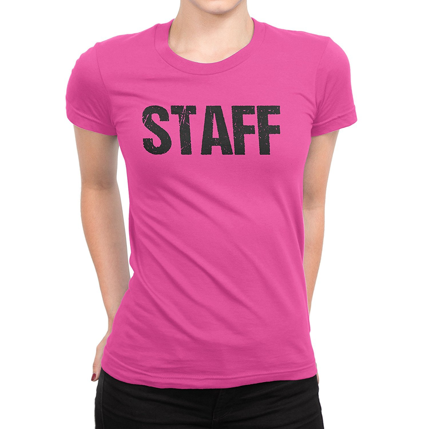 Ladies Neon Safety Pink Staff T Shirt Front Back Print Event Shirt