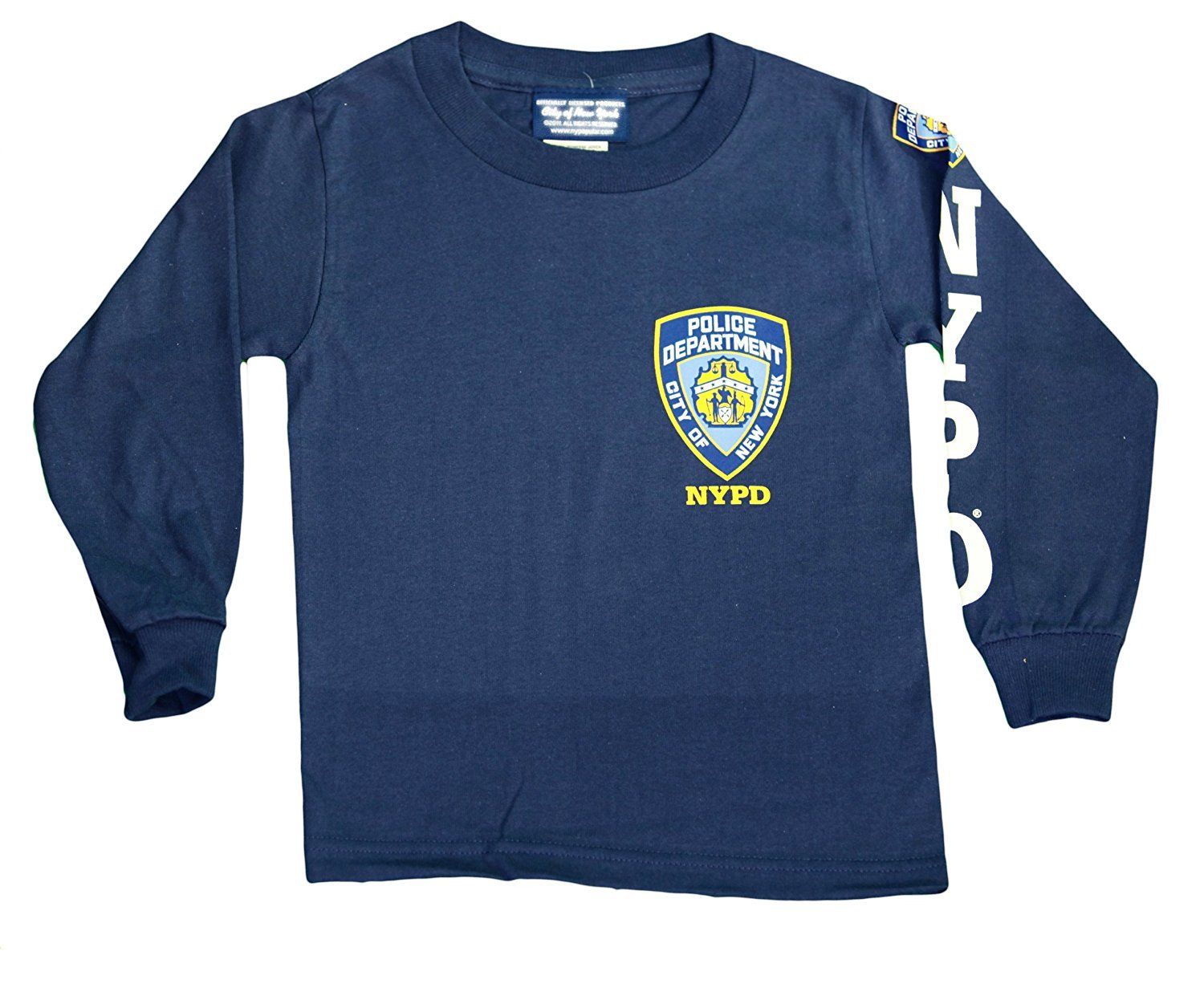 34b409d8e NYPD Kids Long Sleeve Screen Print Chest Badge T-Shirt Navy Tee Police Boys  NWT