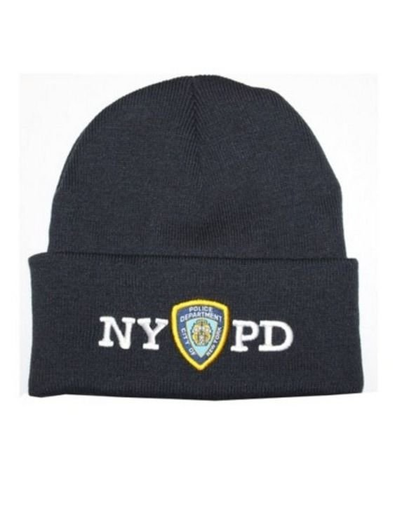Mens NYPD Winter Hat Police Badge New York Police Beanie Navy   White One  Size 2f2ec0a7079