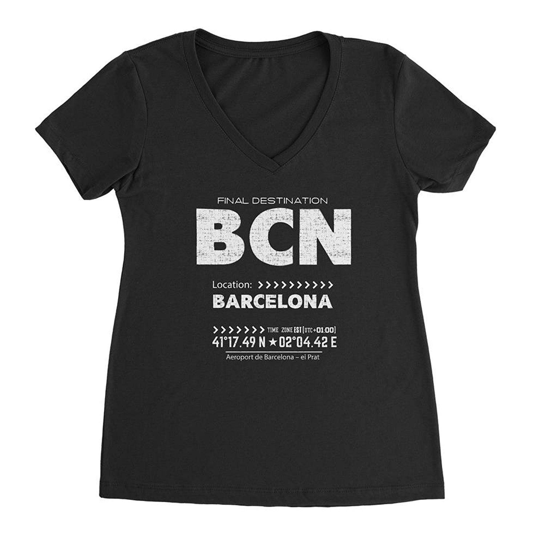 7d0e6586e Details about Nyc Factory Barcelona Ladies V-Neck Tee Retro Bcn T-Shirt  bcn-vneck-white-black