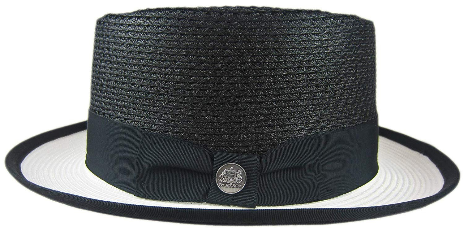fb848e16c61 Stetson Summer Lovin  Black and White Straw Hat Fedora Large R Oval 1 7 8  Brim