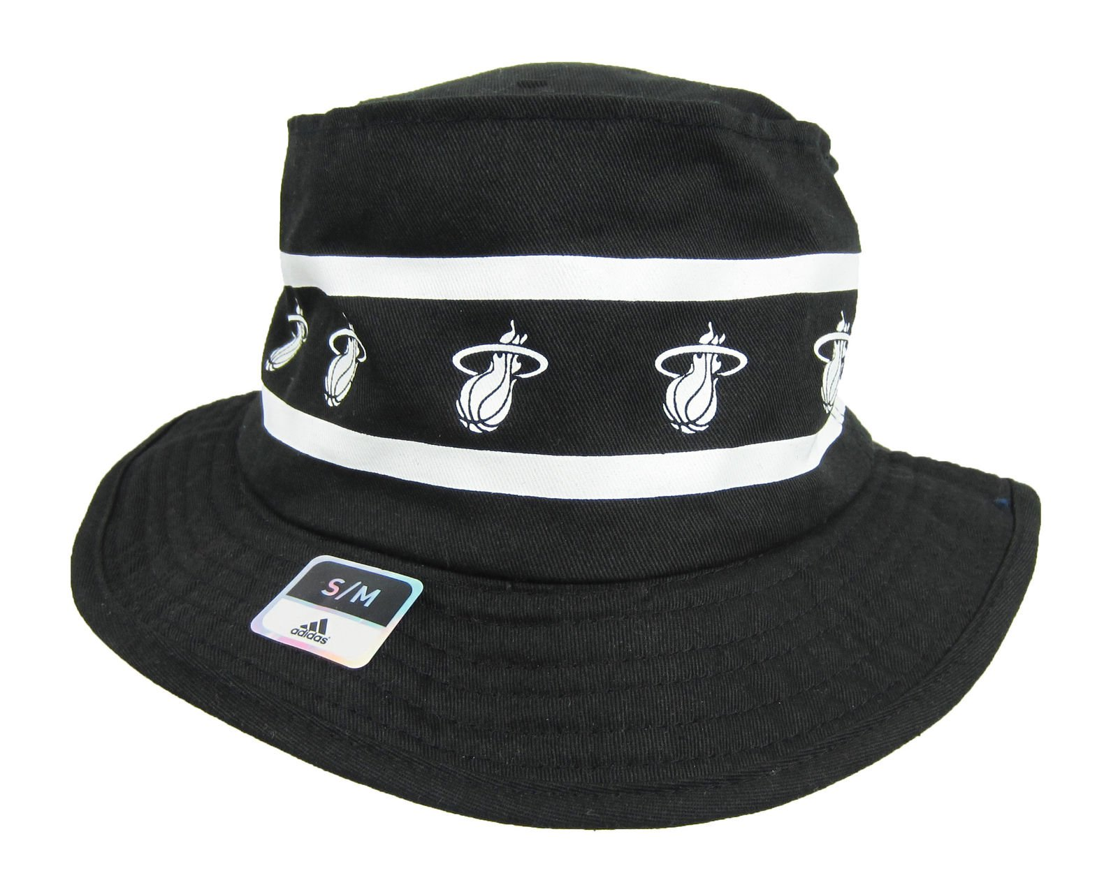 86dab27c47f Adidas NBA Miami Heat Size Small Bucket Hat Black And White ...