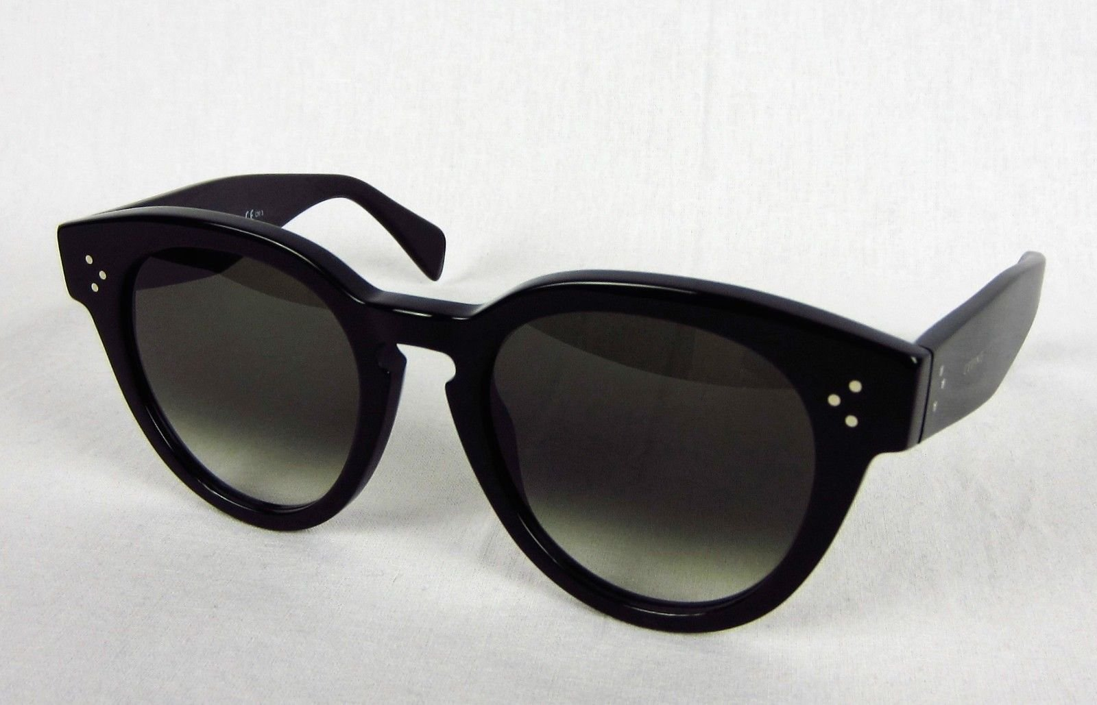83487f69a73b Celine CL 41049 S Sunglasses 807-XM Black Green Round Thin Preppy Keyhole  52mm